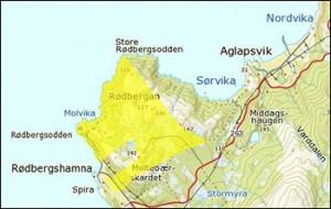Kartutsnitt Rødbergsodden